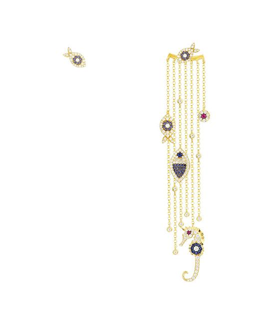 Asymmetric Multi-Chain With Sea Creatures Mono Earring and Stud - Yellow Silver, $299, [B]APM Monaco[/B]