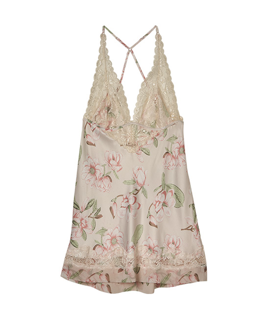 Muse floral satin and lace chemise, $89.90, [B]Chaloné[/B]
