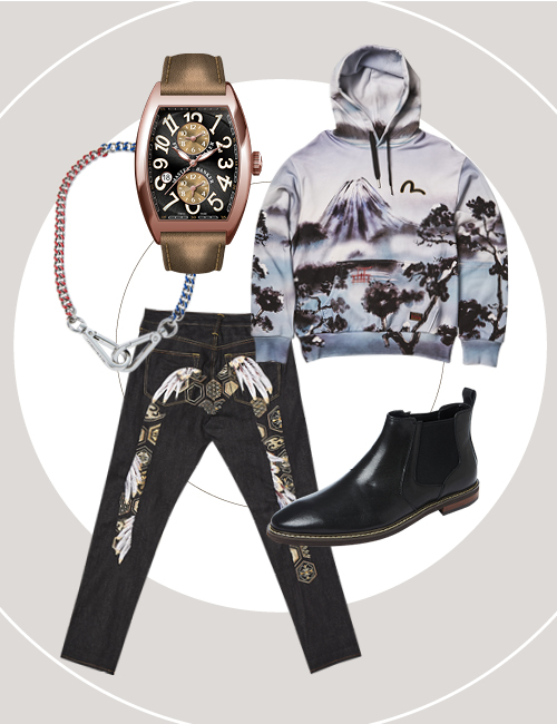 Clockwise from left to right: Cintrée Curvex Master Banker Asia Exclusive in Rose Gold, $40,104, Franck Muller. Mount Fuji and Taka print hoodie, $465, EVISU. Shoes, $139, Bata. Feather pattern Daicock embroidered jeans, $689, EVISU. Necklace, $85, Calvin Klein Jeans.