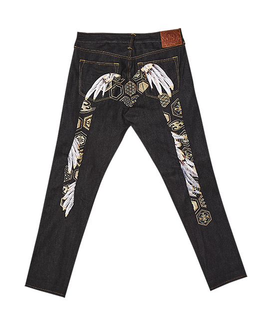 Feather-patterned Daicock embroidered jeans, $689, [B]Evisu[/B]