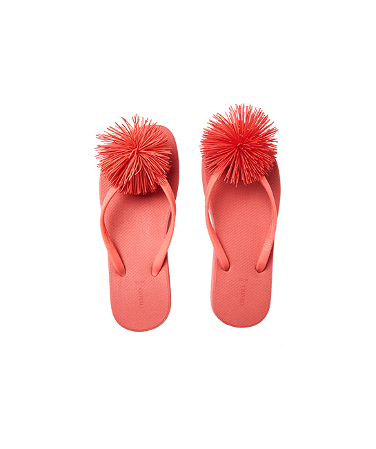 Pom-pom beach thongs, $39.90, [B]OYSHO[/B]