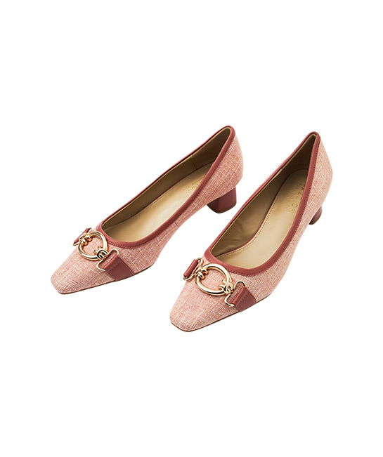 Plum pastel tweed classic round-toe chunky leather pumps, $86, [B]PAZZION[/B]