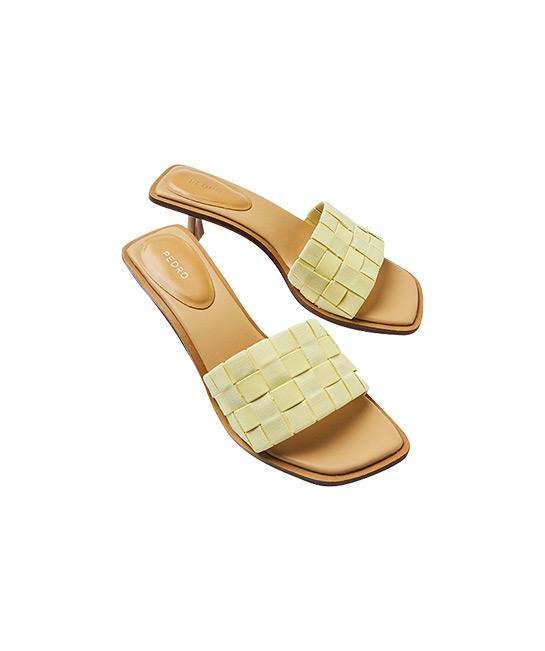 Braided heeled sandals, $79.90, [B]PEDRO[/B]