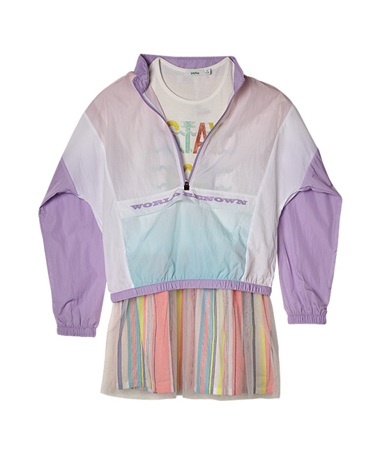 Nylon jacket, $188, FILA KIDS, and rainbow tulle-skirt jersey dress, $43.90, [B]bossini[/B]
