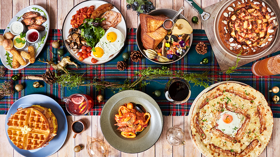 (Clockwise from left to right) Christmas Sharing Platter, $18, PizzaExpress. Big Fabulous Breakfast, $24, and French Toast, $17, PAZZION Café. Real BBQ Chicago, $26.90, Pizzamaru. Carbonara (Romana), $27, PizzaExpress. Signature Seafood Pasta, Red Wine and Red Hibiscus Vin Chaud (part of Christmas Course Meal), $58, Maison de PB. Waffles Stacker, $19.90, O'Coffee Club Roastery.