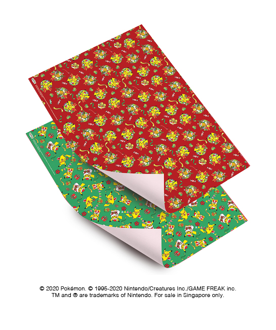 A set of Pokémon Christmas edition gift wrappers