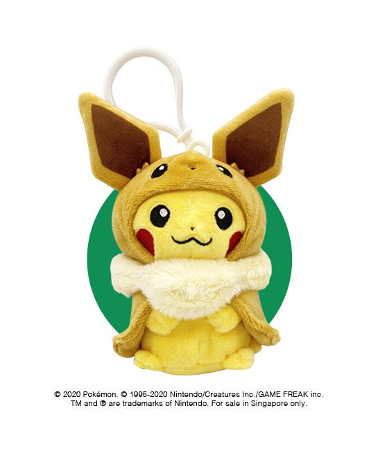 Pikachu Poncho Eevee plush keychain at $12
