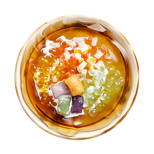 [B]Nine Fresh[/B] [BR]Need to cool down? You'll love the Fruity Ai-Yu Jelly, $3.50, a combination of ai-yu jelly, aloe vera pearl jelly, mango pearl jelly, konjac jelly, milk ball and taro balls.