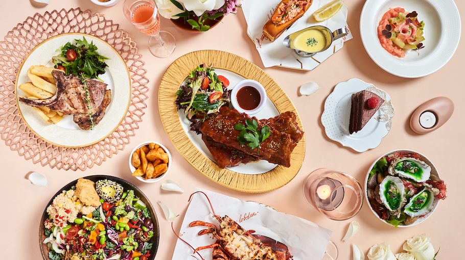 (Clockwise from left to right) 250gram Kurobuta Pork Chop, $29.80, and 1kg BBQ Pork Ribs, $42.80, Rumours Bar & Grill. Original Lobster Roll, from $28, Burger & Lobster. Guava, $12++, Elfuego by COLLIN'S. 85% Dark Chocolate Cake, $9, Privé. Irish Oyster No. 3 (three pieces), $16++, Elfuego by COLLIN'S. Original Lobster, from $55, Burger & Lobster. Tracy's Favourite Salad, $27, Privé. Flowers, Xpressflower.com.