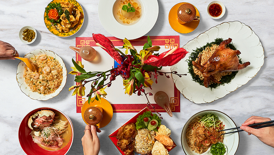 (Clockwise from left to right) Crisp fried Fish Skin with Salted Egg Yolk, $12.80, PARADISE CLASSIC. Double Boiled Snow Pear with Peach Gum and Aloe Vera, $13, and Deep-fried Whole Boneless Chicken filled with Fried Glutinous Rice, $52.80, Shang Social 香聚. Spicy Japanese Scallop Dry Noodle, $10.90, LENU. Indonesian Lemongrass Chicken with Fried Rice, $18, Four Seasons Restaurant. Crab Soba with Premium Char Siu & Crab Shell, $23.80, Tsuta Japanese Soba Noodles. Supreme Seafood Fried Rice, $17.30, PARADISE CLASSIC. Flowers, Xpressflower.com.