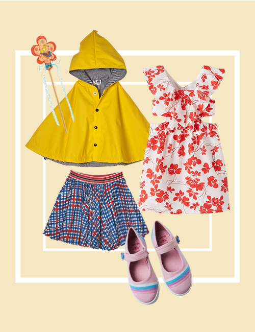Clockwise from left to right: DJECO DIY little fairies magic wands (set of 4), $19.90, The Better Toy Store. Rain cape, $129, Petit Bateau. Floral dress, $59.90, ZARA. Bubblegummers rainbow pastel ballerinas, $29.95, Bata. Fandorine crepe skirt, $160, Jacadi Paris.