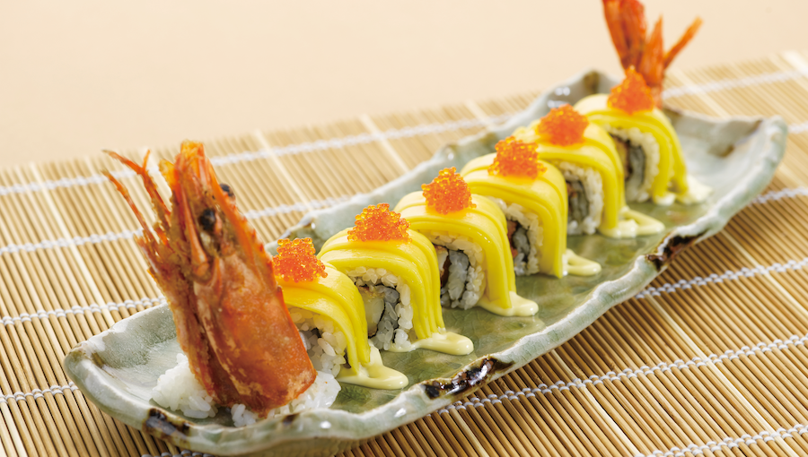 [B]Sushi Tei[/B] [BR]It's not easy to pick a favourite item from Sushi Tei's 370 dish-strong menu, but the Golden Rolls, $16.80, serve up a flavour combo that's hard to beat, featuring a king prawn sushi roll draped in mango and ikura.